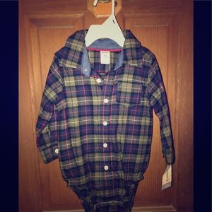 Boys 12 month plaid onesie!